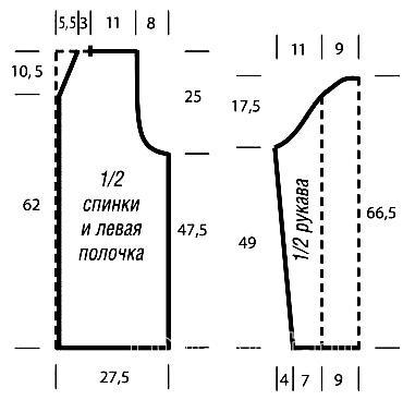 Схема вязания жакет с объемным узором из кос раздел вязание спицами для женщин кофты спицами женские