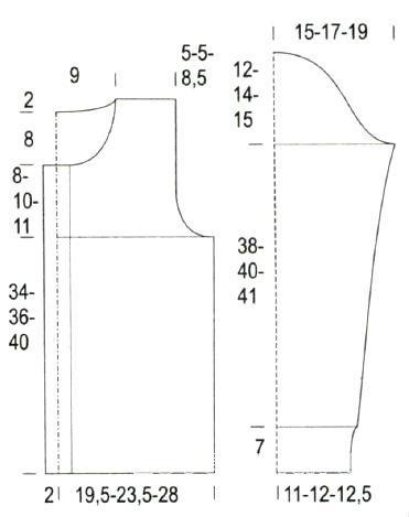 Схема вязания жакет с отложным воротником и рельефным узором раздел вязание спицами для женщин кофты спицами женские