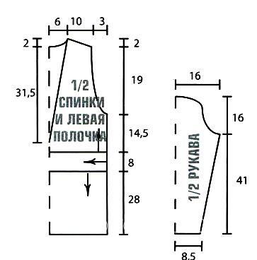 """Схема вязания жакет в технике """"брумстик"""" раздел вязание спицами для женщин кофты спицами женские"""