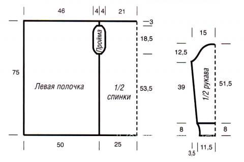 Схема вязания жакет без застежек с асимметричной длиной раздел вязание спицами для женщин кофты спицами женские