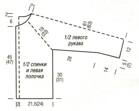 Схема вязания жакет без застежек с рукавом реглан раздел вязание спицами для женщин кофты спицами женские