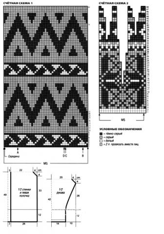 Схема вязания жаккардовый жакет раздел вязание спицами для женщин кофты спицами женские