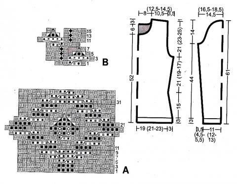 Схема вязания женский джемпер с цветочным рисунком  раздел вязание спицами для женщин кофты спицами женские