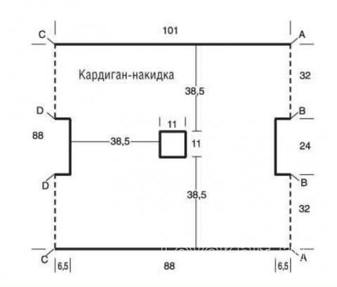 Схема вязания кардиган-накидка простым узором раздел вязание спицами для женщин жакеты спицами