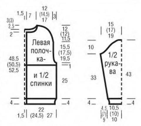 Схема вязания кардиган на пуговицах с бахромой раздел вязание спицами для женщин жакеты спицами