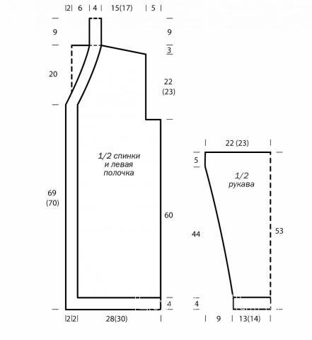 Схема вязания кардиган без застежек с узором из снятых петель раздел вязание спицами для женщин жакеты спицами