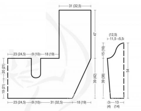 Схема вязания свободный жакет с асимметричной длиной раздел вязание спицами для женщин жакеты спицами