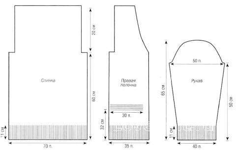 Схема вязания свободный жакет с накладными карманами раздел вязание спицами для женщин жакеты спицами