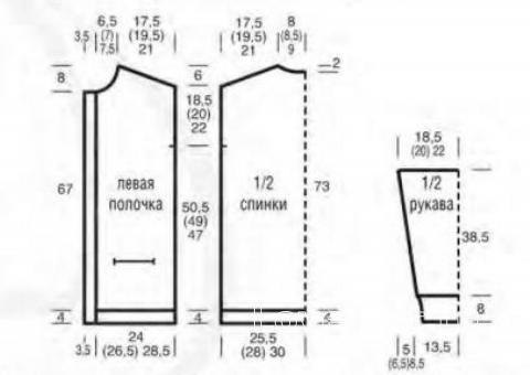 Схема вязания удлиненный кардиган с высоким воротником раздел вязание спицами для женщин жакеты спицами