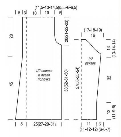 Схема вязания удлиненный кардиган жемчужным узором раздел вязание спицами для женщин жакеты спицами