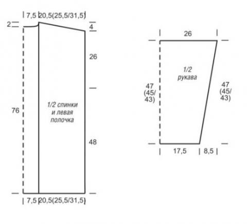 Схема вязания удлиненный теплый кардиган без застежек раздел вязание спицами для женщин жакеты спицами