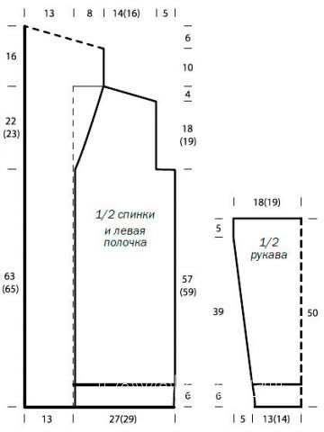 Схема вязания удлиненный теплый жакет с воротником-шалькой раздел вязание спицами для женщин жакеты спицами