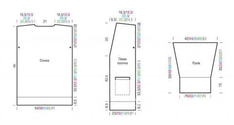 Схема вязания удлиненный трехцветный кардиган с накладными карманами раздел вязание спицами для женщин жакеты спицами
