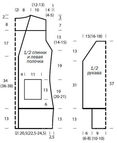 Схема вязания удлиненный жакет с объемными карманами и лацканами раздел вязание спицами для женщин жакеты спицами
