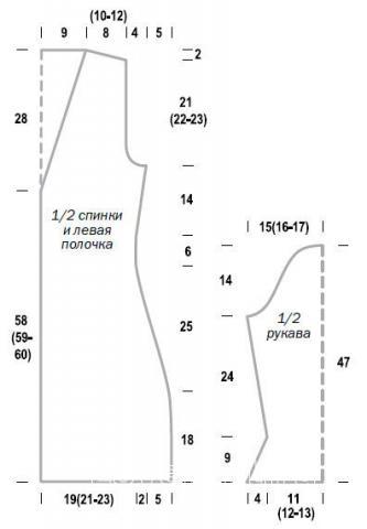 Схема вязания удлиненный жакет с расклешенными рукавами раздел вязание спицами для женщин жакеты спицами