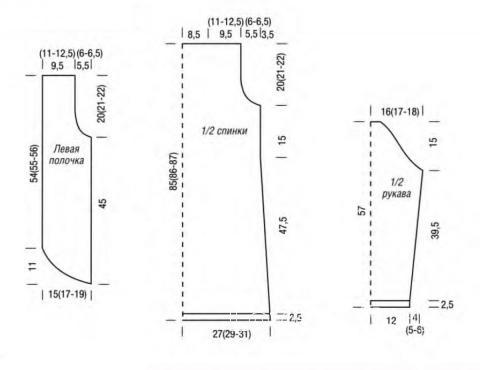 Схема вязания удлиненный жакет с закругленным краем раздел вязание спицами для женщин жакеты спицами