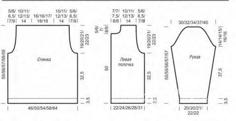 Схема вязания укороченный жакет в полоску с разрезами раздел вязание спицами для женщин жакеты спицами