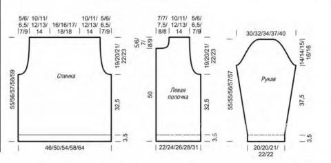 Схема вязания укороченный жакет в полоску раздел вязание спицами для женщин жакеты спицами
