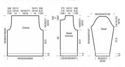 Схема вязания укороченный  жакет в полоску со шлицами раздел вязание спицами для женщин жакеты спицами