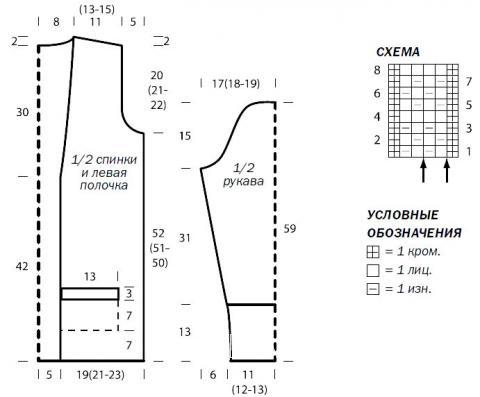 Схема вязания жакет на поясе с накладными карманами раздел вязание спицами для женщин жакеты спицами