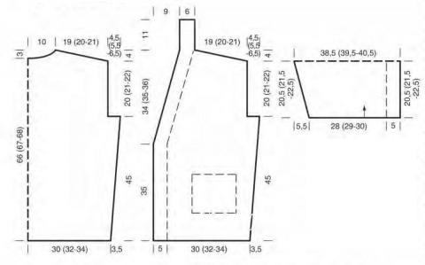 Схема вязания жакет с поясом и накладными карманами раздел вязание спицами для женщин жакеты спицами