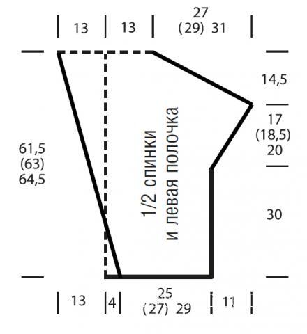 Схема вязания асимметричный кардиган с окантовкой их бахромы раздел вязание спицами для женщин жилеты для женщин