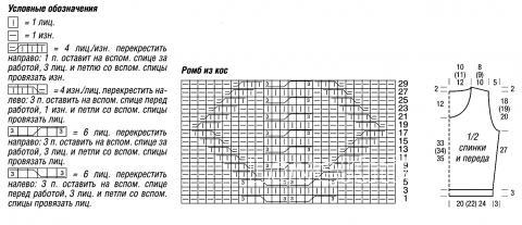 Схема вязания безрукавка с ромбами раздел вязание спицами для женщин жилеты для женщин