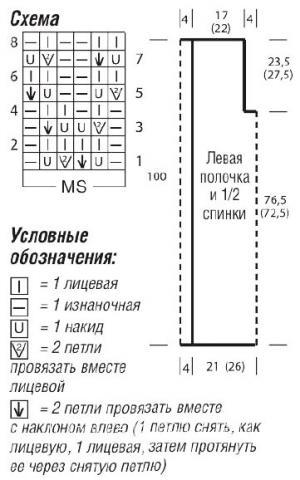 Схема вязания длинный сетчатый жилет раздел вязание спицами для женщин жилеты для женщин