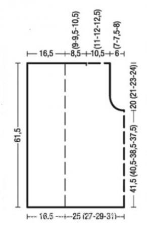 Схема вязания двусторонний жилет с большими лацканами раздел вязание спицами для женщин жилеты для женщин