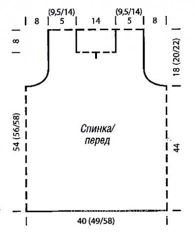 Схема вязания объемная безрукавка с рельефным узором раздел вязание спицами для женщин жилеты для женщин