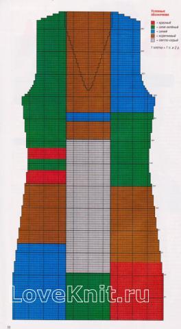"""Схема вязания свободный жилет в стиле """"пэчворк"""" раздел вязание спицами для женщин жилеты для женщин"""