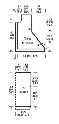 Схема вязания удлиненный жилет с асимметричной длиной раздел вязание спицами для женщин жилеты для женщин