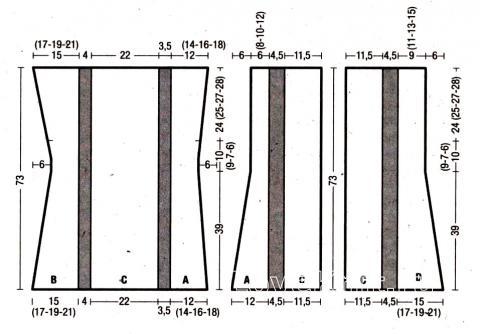 Схема вязания удлиненный жилет с полосатым рисунком раздел вязание спицами для женщин жилеты для женщин