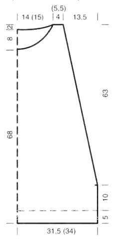 Схема вязания удлиненный жилет с проймами раздел вязание спицами для женщин жилеты для женщин