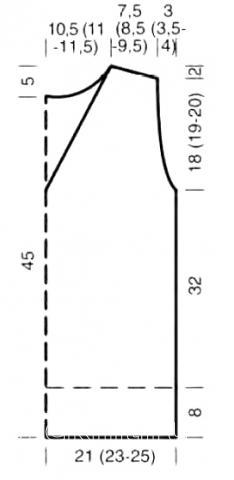 Схема вязания укороченная безрукавка с v-образным вырезом раздел вязание спицами для женщин жилеты для женщин