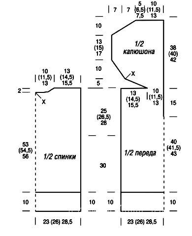 Схема вязания жилет с капюшоном на молнии раздел вязание спицами для женщин жилеты для женщин
