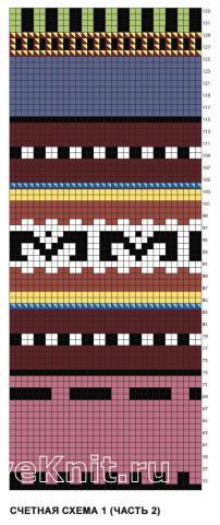 Схема вязания жилет и митенки с контрастным цветным узором раздел вязание спицами для женщин жилеты для женщин