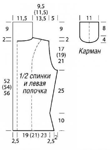 Схема вязания жилет на пуговицах с накладными карманами раздел вязание спицами для женщин жилеты для женщин