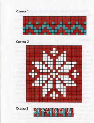 Схема вязания шапочка с жаккардовым узором и варежки раздел вязание спицами для женщин шапки для женщин
