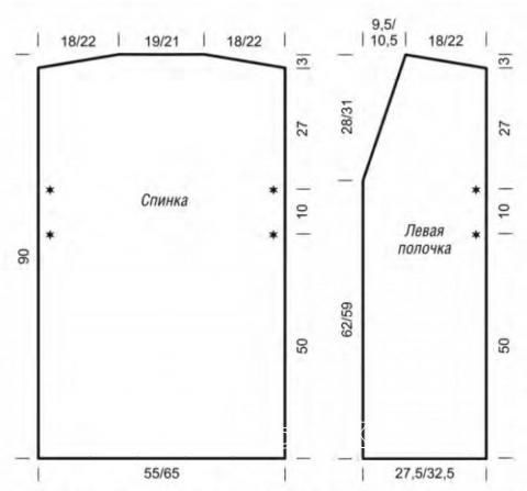 Схема вязания длинный жилет-кейп в полоску раздел вязание спицами для женщин накидки и болеро для женщин