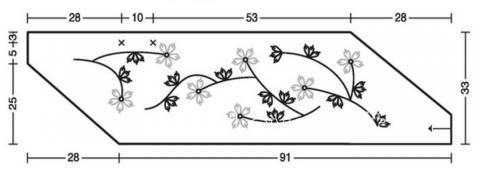 Схема вязания накидка с вышивкой из цветов раздел вязание спицами для женщин накидки и болеро для женщин