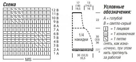 Схема вязания пончо с большим воротником узором из снятых петель  раздел вязание спицами для женщин накидки и болеро для женщин