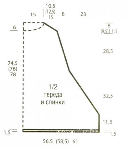 Схема вязания удлиненная накидка с жаккардовыми узорами раздел вязание спицами для женщин накидки и болеро для женщин