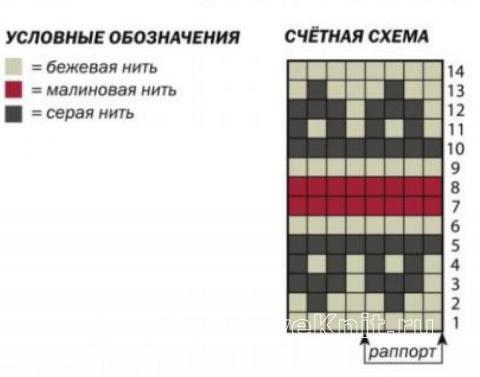 Схема вязания нарукавники с жаккардовым узором раздел вязание спицами для женщин перчатки