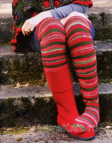 Схема вязания пестрые гольфы раздел вязание спицами для женщин носки