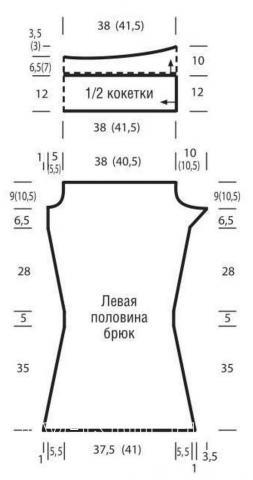 Схема вязания брюки клеш с рельефным узором на завязках раздел вязание спицами для женщин брюки, шорты