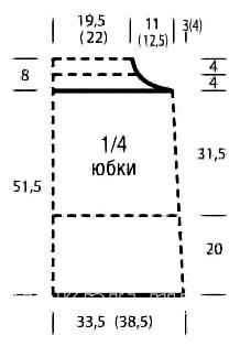 Схема вязания пышная юбка до колена с ажурным узором раздел вязание спицами для женщин юбки