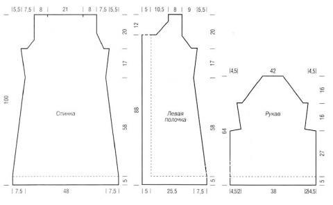 Схема вязания пальто с объемными рукавами и воротником раздел вязание спицами для женщин пальто