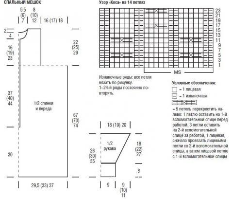 Схема вязания спальный мешок для малыша с шахматным узором раздел вязание спицами для женщин пальто