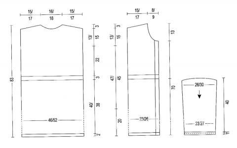 Схема вязания удлиненное пальто с поясом раздел вязание спицами для женщин пальто